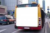 foto of bus-shelter  - Blank billboard on back of a bus - JPG