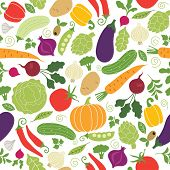 seamless pattern on a white background , vegetables illustrations