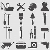 stock photo of putty  - Worker tools icons set - JPG