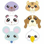 pic of saber-toothed  - six cute cartoon animal head icons with white background - JPG