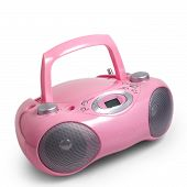 stock photo of dick  - stereo cd pink mp3 radio cassette recorder is isolated on a white background - JPG