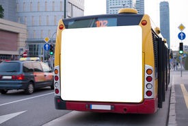stock photo of bus-shelter  - Blank billboard on back of a bus - JPG