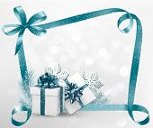 Holiday background with gift ribbon with gift box. Raster version