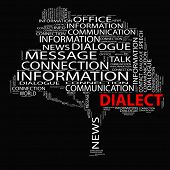 stock photo of dialect  - High resolution concept or conceptual white dialect tree word cloud on black background wordcloud - JPG