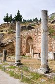 foto of spartan  - The antique columns are the part of the Spartan monument in Delphi Greece - JPG