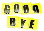 foto of bye  - Good bye in yellow note image with hi - JPG