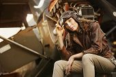 Beautiful Woman Aviator: Vintage Photo