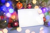 pic of boll  - Colorful abstract background with christmas lights and white frame.   Christmas background with Ribbon boll and ornaments - JPG