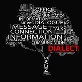 pic of dialect  - High resolution concept or conceptual white dialect tree word cloud on black background wordcloud - JPG