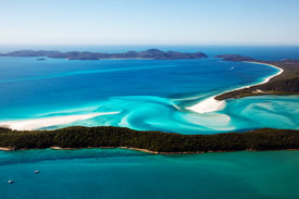 stock photo of inlet  - Aerial view of Whitehaven Beach and Hill Inlet on Whitsunday Island - JPG