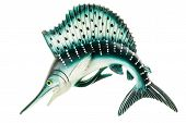 stock photo of swordfish  - a small swordfish fridge magnet made in plastic and isolated over white - JPG