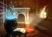 picture of sorcerer  - digital painting bright colored wizard house interior - JPG