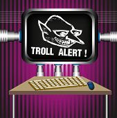 picture of troll  - Colorful illustration with a troll alert sign on a computer screen - JPG