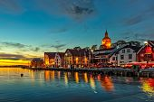 stock photo of roof-light  - Stavanger at night  - JPG