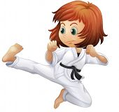 pic of karate-do  - Illustration of a brave young lady doing karate on a white background - JPG