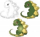 image of godzilla  - the little cub of the Godzilla kotoy is drawn in three options of color scale - JPG