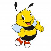 stock photo of bee cartoon  - Vector illustration of a cartoon bee with red shoes - JPG