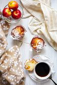 picture of continental food  - Fresh breakfast table with muffins in paper cupcake holders coffee and fruits  - JPG