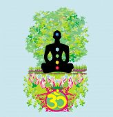 stock photo of padmasana  - Yoga lotus man pose - JPG