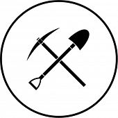 picture of grub  - pick and shovel crossed symbol - JPG