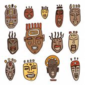 stock photo of zulu  - African Masks set - JPG