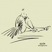picture of ballerina  - art sketch of sitting on floor of studio and tying up pointe shoes beautiful young ballerina in tutu - JPG