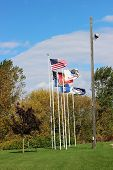 foto of flag pole  - Many flags on flag poles in autumn - JPG