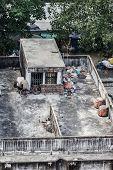 image of overpopulation  - Poor home or slums facade in Bangkok city Thailand - JPG