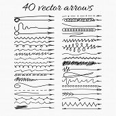 picture of swirly  - Set of 40 vector arrows - JPG