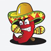 picture of maracas  - Illustration of a Chili Character pepper with a Pair of Maracas - JPG