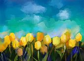 picture of abstract painting  - Tulips flowers - JPG