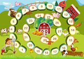 picture of farm landscape  - Farm themed board game with numbers - JPG