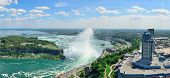 stock photo of horseshoe  - Horseshoe Falls aerial view panorama in the day with mist from Niagara Falls - JPG