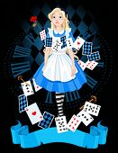 foto of alice wonderland  - Alice is standing on background of the dial - JPG