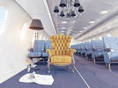 stock photo of first class  -  luxury armchair in airplane cabin - JPG