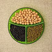 stock photo of mung beans  - Three species of legumes - JPG