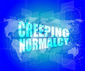 picture of creeping  - creeping normalcy word on business digital screen - JPG