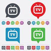 stock photo of tv sets  - Retro TV sign icon - JPG