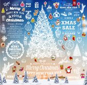 foto of christmas greetings  - Hand Drawn Christmas And New Year Decoration Set Of Calligraphic And Typographic Designs - JPG