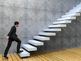 image of climb up  - Concept or conceptual 3D male businessman on stair or steps near a wall background - JPG
