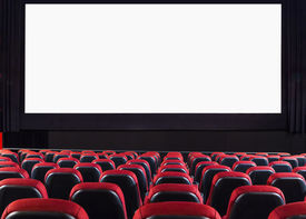 stock photo of cinema auditorium  - Empty cinema auditorium with screen and seats - JPG