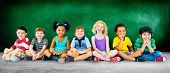 foto of diversity  - Kids Children Diversity Happiness Group Education Concept - JPG
