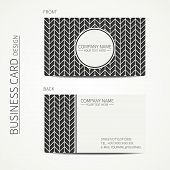stock photo of chevron  - Vintage hipster simple monochrome business card template for your design - JPG