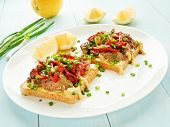 stock photo of liver fry  - Toasts with mustard sauce liver and stir - JPG