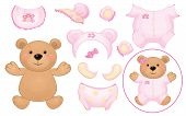 stock photo of baby bear  - Cute baby  bear girl and baby clothing dress up bear toy - JPG