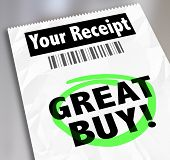 pic of receipt  - Great Buy words on a receipt as proof of purchase at a low price or cost with great savings - JPG