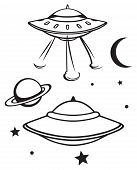 stock photo of flying saucer  - Space flying saucer isolated on white background - JPG