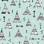 pic of teepee tent  - Seamless indian summer woodland arrows and teepee illustration aztec background pattern in vector - JPG