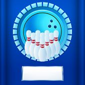 stock photo of plaque  - Bowling Icon on a Blue Plaque with area for Text - JPG