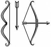 stock photo of longbow  - Bow and arrow - JPG